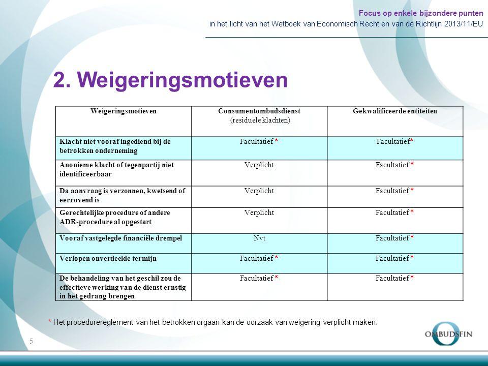 2. Weigeringsmotieven Focus op enkele bijzondere punten in het licht van het Wetboek van Economisch Recht en van de Richtlijn 2013/11/EU 5 Weigeringsm