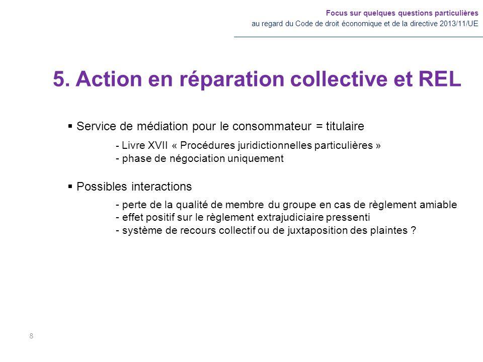 5. Action en réparation collective et REL Focus sur quelques questions particulières au regard du Code de droit économique et de la directive 2013/11/