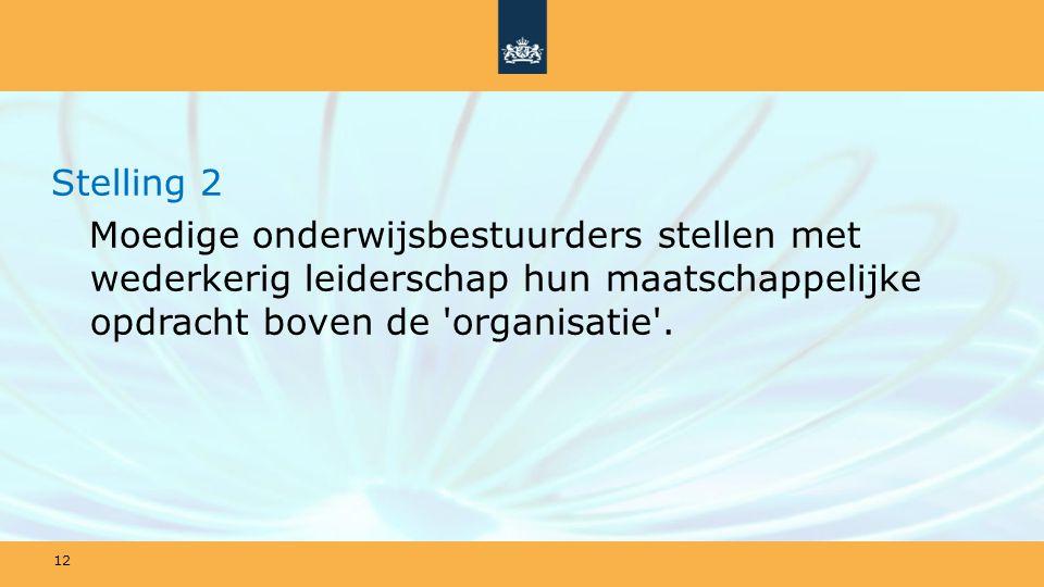Stelling 2 Moedige onderwijsbestuurders stellen met wederkerig leiderschap hun maatschappelijke opdracht boven de organisatie .