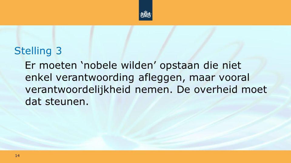 Stelling 3 Er moeten 'nobele wilden' opstaan die niet enkel verantwoording afleggen, maar vooral verantwoordelijkheid nemen.