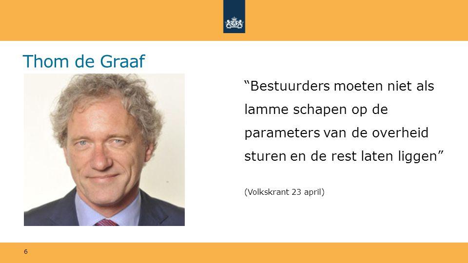 Thom de Graaf Bestuurders moeten niet als lamme schapen op de parameters van de overheid sturen en de rest laten liggen (Volkskrant 23 april) 6