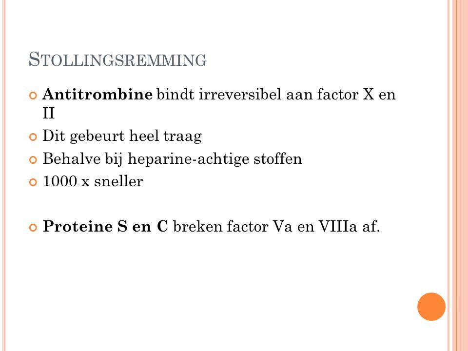 S TOLLINGSREMMING Antitrombine bindt irreversibel aan factor X en II Dit gebeurt heel traag Behalve bij heparine-achtige stoffen 1000 x sneller Protei
