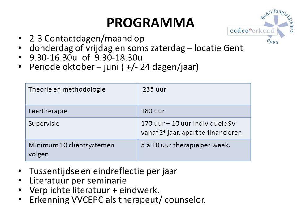 PROGRAMMA 2-3 Contactdagen/maand op donderdag of vrijdag en soms zaterdag – locatie Gent 9.30-16.30u of 9.30-18.30u Periode oktober – juni ( +/- 24 da