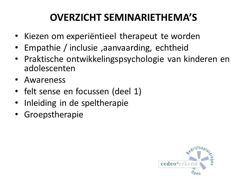 OVERZICHT SEMINARIETHEMA'S Kiezen om experiëntieel therapeut te worden Empathie / inclusie,aanvaarding, echtheid Praktische ontwikkelingspsychologie v