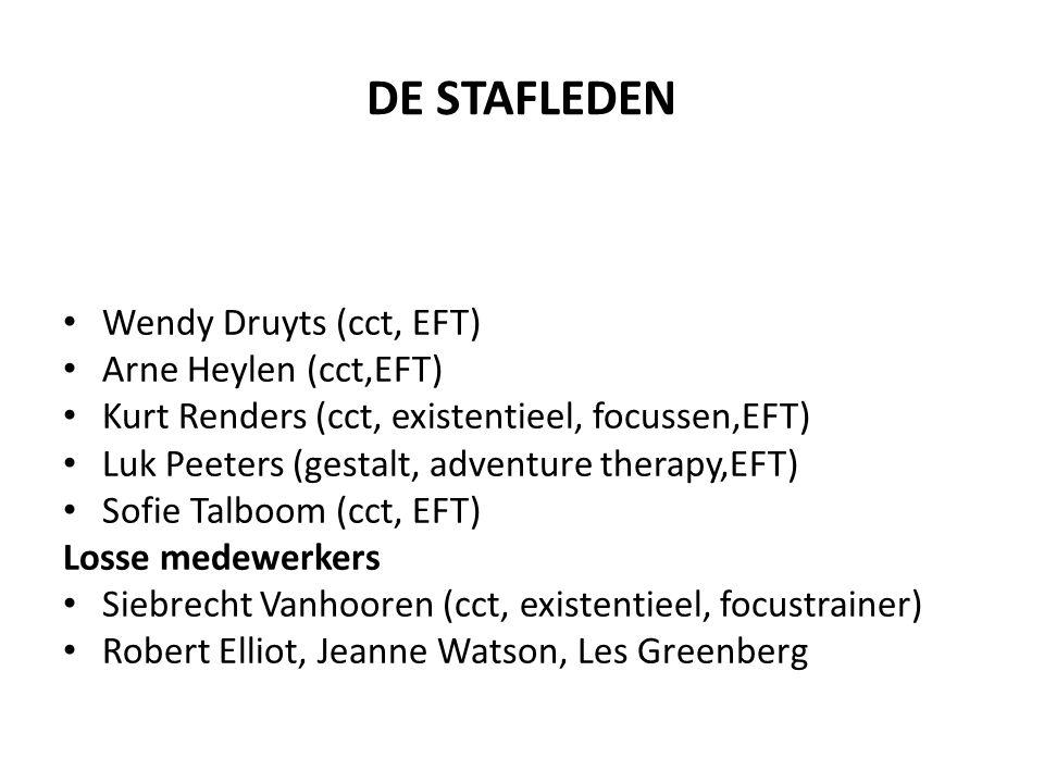 DE STAFLEDEN Wendy Druyts (cct, EFT) Arne Heylen (cct,EFT) Kurt Renders (cct, existentieel, focussen,EFT) Luk Peeters (gestalt, adventure therapy,EFT)