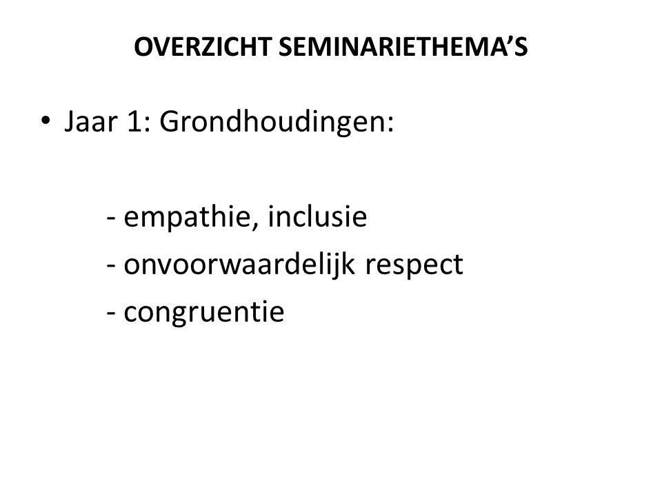 OVERZICHT SEMINARIETHEMA'S Jaar 1: Grondhoudingen: - empathie, inclusie - onvoorwaardelijk respect - congruentie