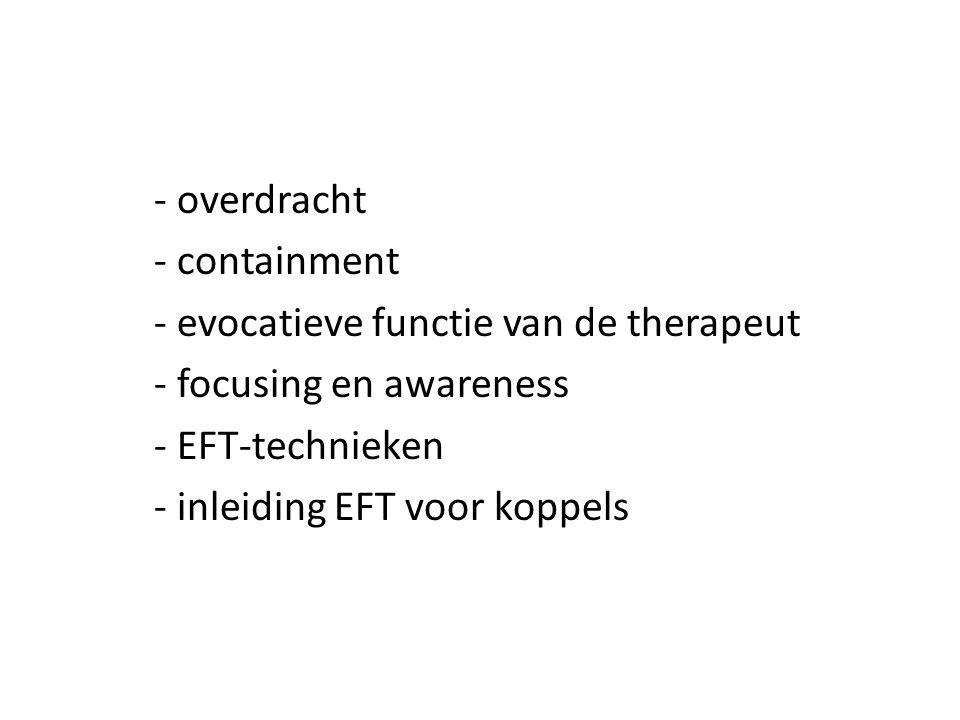 - overdracht - containment - evocatieve functie van de therapeut - focusing en awareness - EFT-technieken - inleiding EFT voor koppels