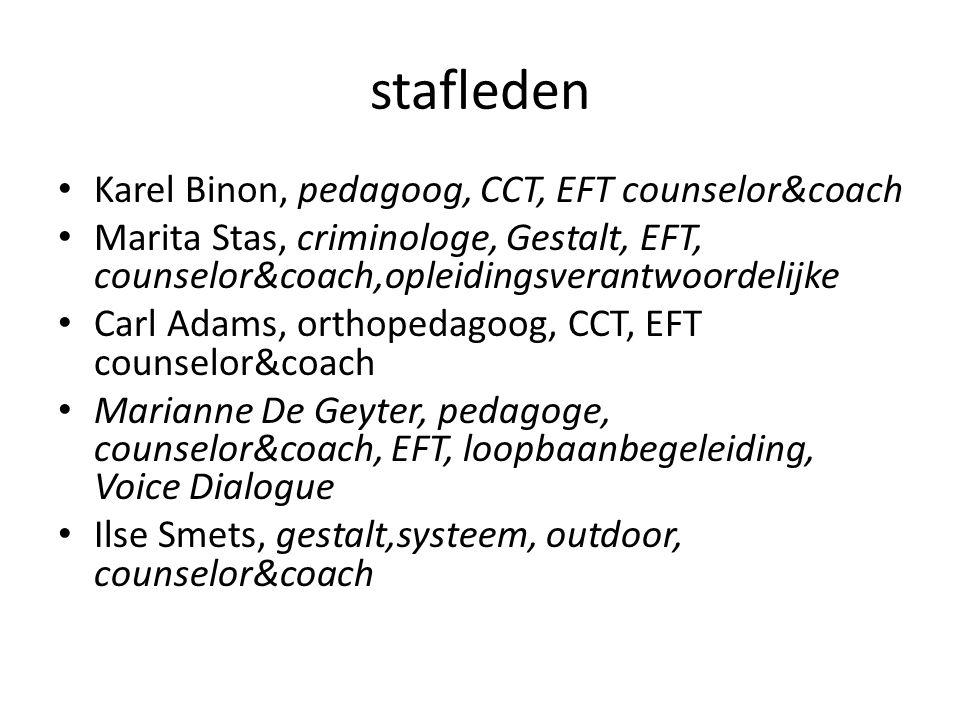 stafleden Karel Binon, pedagoog, CCT, EFT counselor&coach Marita Stas, criminologe, Gestalt, EFT, counselor&coach,opleidingsverantwoordelijke Carl Ada
