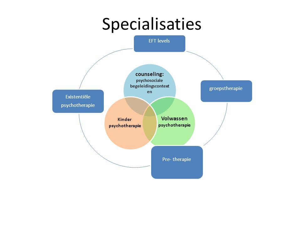 Specialisaties counseling: psychosociale begeleidingscontext en Volwassen psychotherapie Kinder psychotherapie EFT levels groepstherapie Pre- therapie