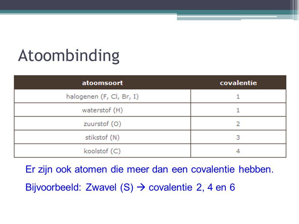 Atoombinding Atoombinding: twee niet-metalen met een gemeenschappelijk elektronenpaar Covalentie: het aantal elektronen dat een atoom beschikbaar heef