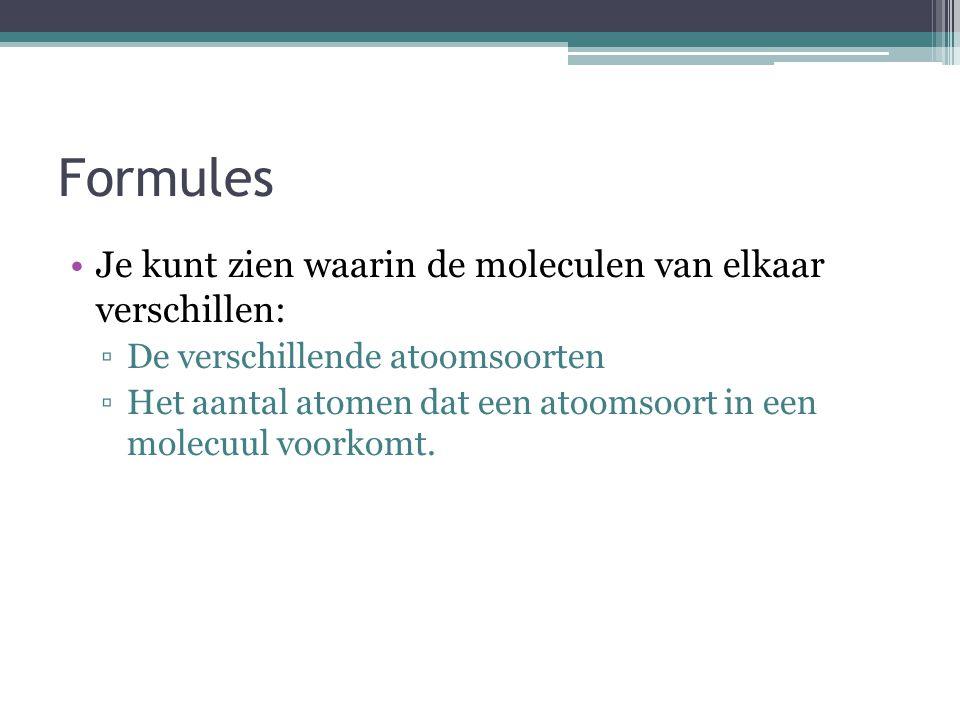 Molecuulformule 2 moleculen ethanol 2 C 2 H 6 O Coëfficiënt: Geeft het aantal moleculen aan Index: Geeft het aantal atomen dat in het molecuul voorkom