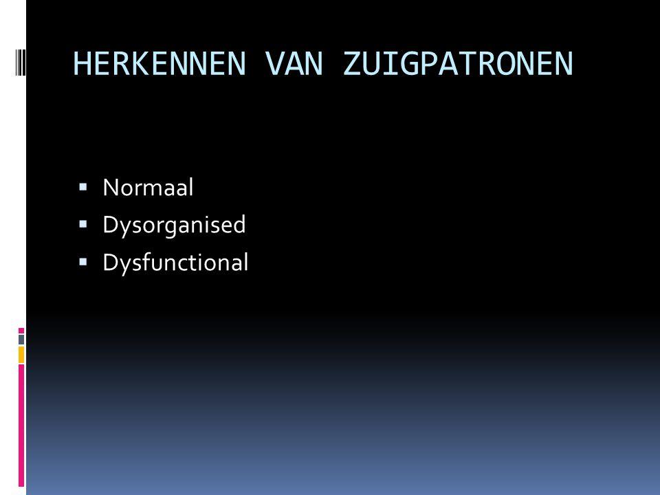 HERKENNEN VAN ZUIGPATRONEN  Normaal  Dysorganised  Dysfunctional