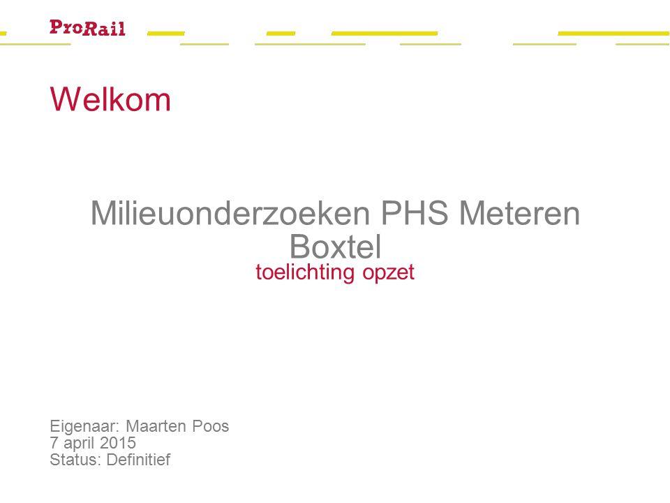 Welkom Eigenaar: Maarten Poos 7 april 2015 Status: Definitief Milieuonderzoeken PHS Meteren Boxtel toelichting opzet