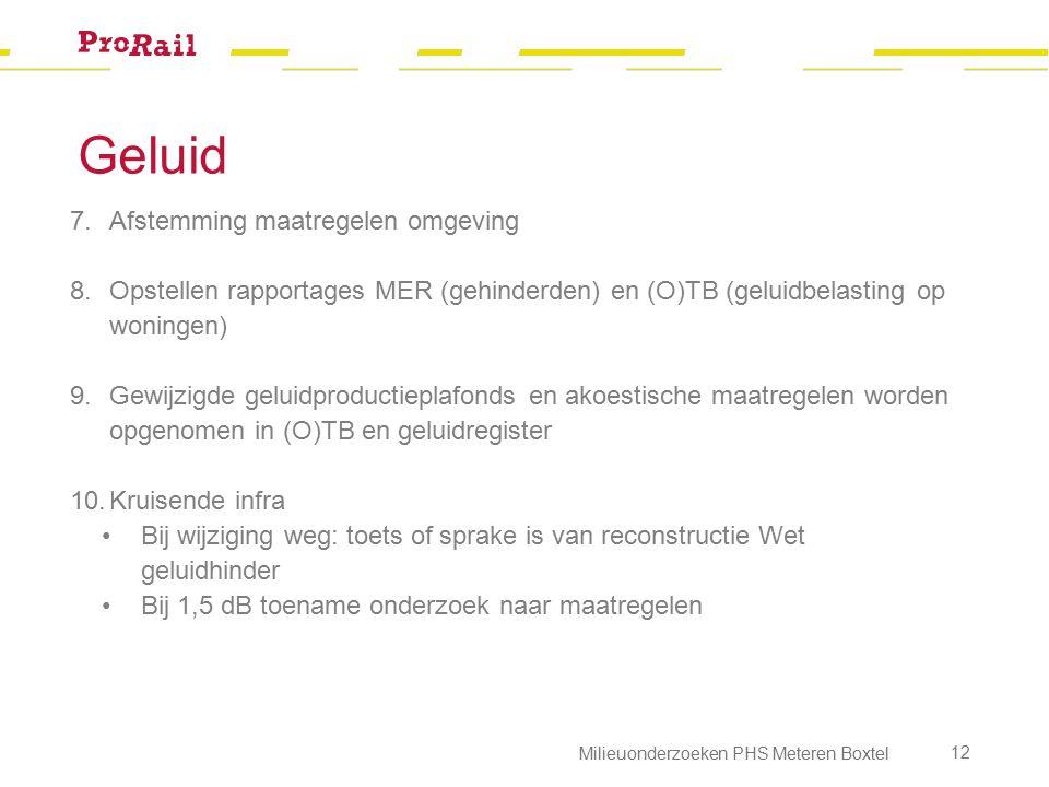 Geluid 7.Afstemming maatregelen omgeving 8.Opstellen rapportages MER (gehinderden) en (O)TB (geluidbelasting op woningen) 9.Gewijzigde geluidproductie