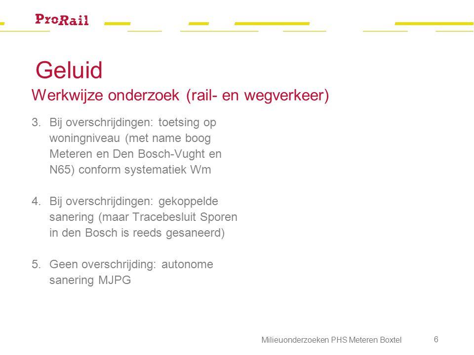 Geluid Werkwijze onderzoek (rail- en wegverkeer) 3.Bij overschrijdingen: toetsing op woningniveau (met name boog Meteren en Den Bosch-Vught en N65) co