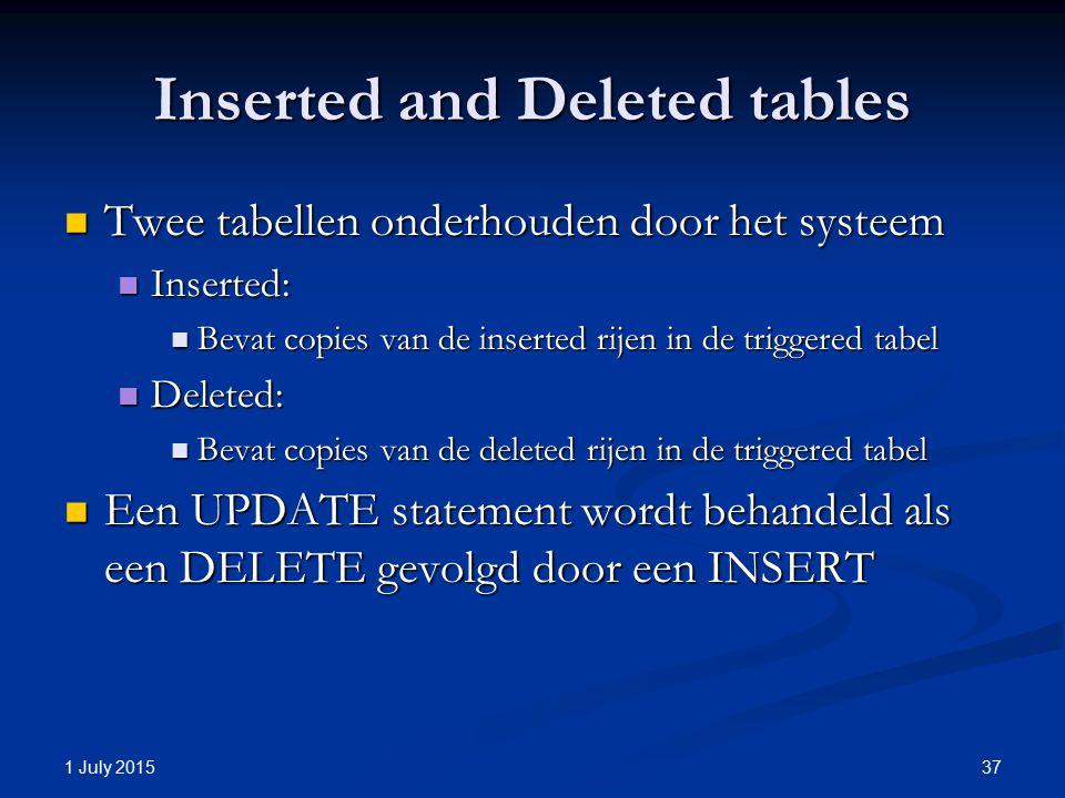 Inserted and Deleted tables Twee tabellen onderhouden door het systeem Twee tabellen onderhouden door het systeem Inserted: Inserted: Bevat copies van de inserted rijen in de triggered tabel Bevat copies van de inserted rijen in de triggered tabel Deleted: Deleted: Bevat copies van de deleted rijen in de triggered tabel Bevat copies van de deleted rijen in de triggered tabel Een UPDATE statement wordt behandeld als een DELETE gevolgd door een INSERT Een UPDATE statement wordt behandeld als een DELETE gevolgd door een INSERT 1 July 2015 37