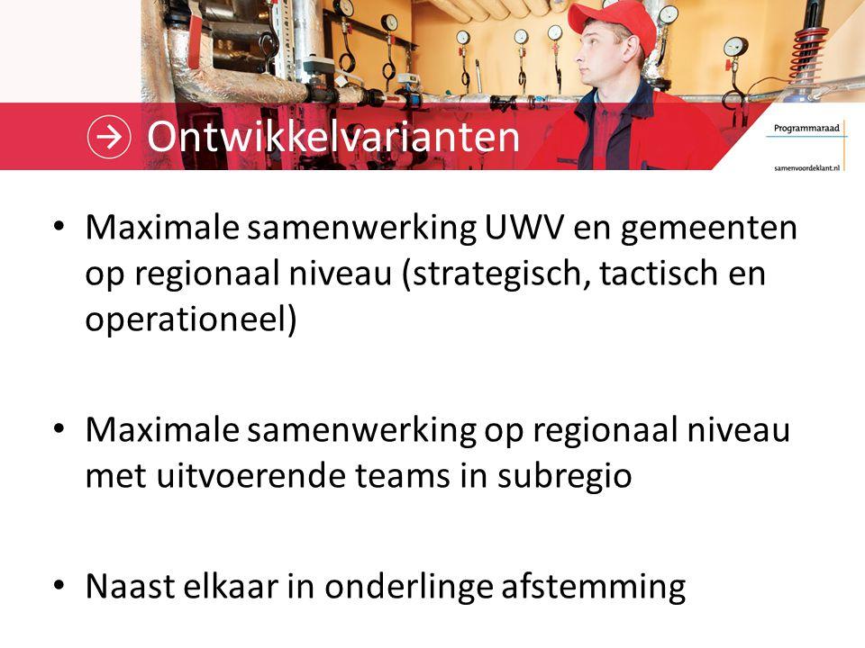 Ontwikkelvarianten Maximale samenwerking UWV en gemeenten op regionaal niveau (strategisch, tactisch en operationeel) Maximale samenwerking op regionaal niveau met uitvoerende teams in subregio Naast elkaar in onderlinge afstemming
