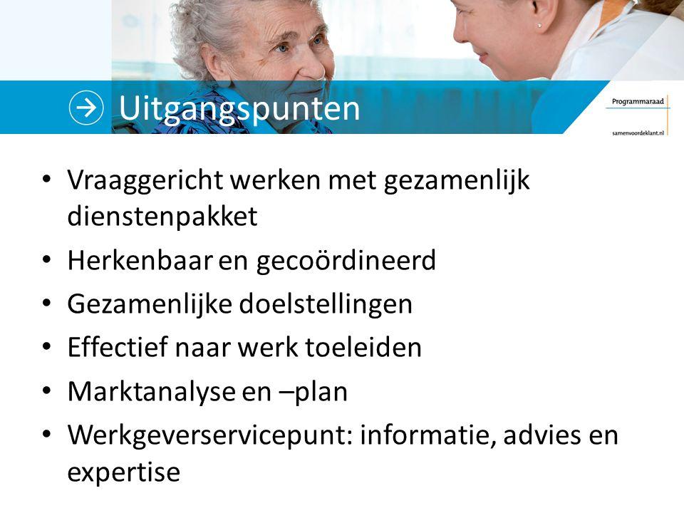 Uitgangspunten Vraaggericht werken met gezamenlijk dienstenpakket Herkenbaar en gecoördineerd Gezamenlijke doelstellingen Effectief naar werk toeleide