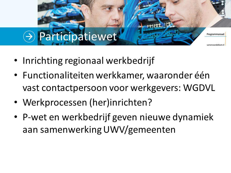 Participatiewet Inrichting regionaal werkbedrijf Functionaliteiten werkkamer, waaronder één vast contactpersoon voor werkgevers: WGDVL Werkprocessen (her)inrichten.