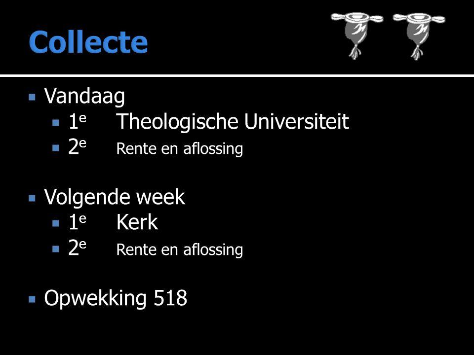  Vandaag  1 e Theologische Universiteit  2 e Rente en aflossing  Volgende week  1 e Kerk  2 e Rente en aflossing  Opwekking 518
