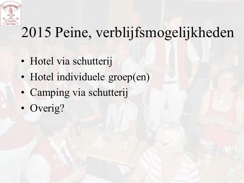 2015 Peine, verblijfsmogelijkheden Hotel via schutterij Hotel individuele groep(en) Camping via schutterij Overig?