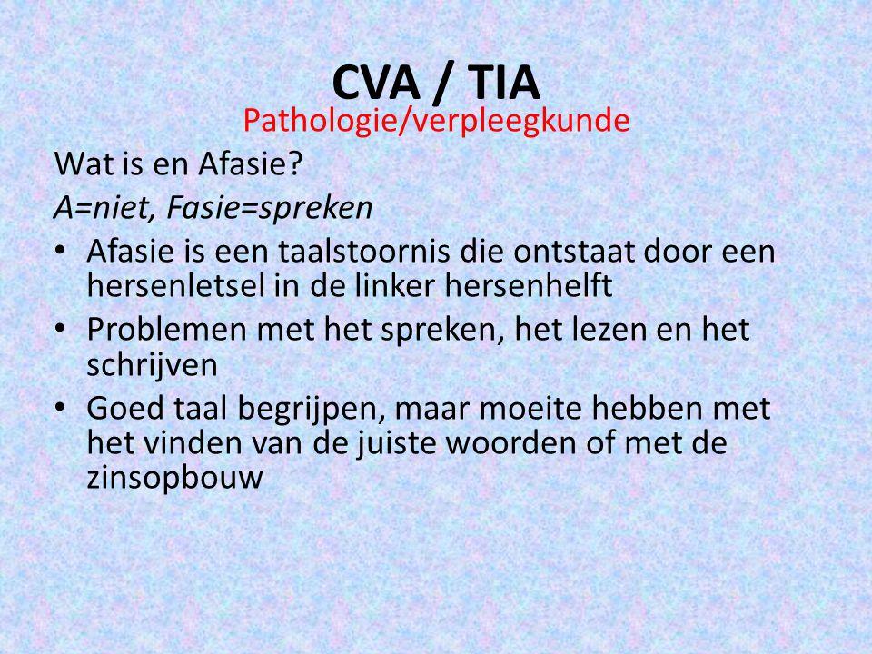 CVA / TIA Pathologie/verpleegkunde Wat is en Afasie? A=niet, Fasie=spreken Afasie is een taalstoornis die ontstaat door een hersenletsel in de linker
