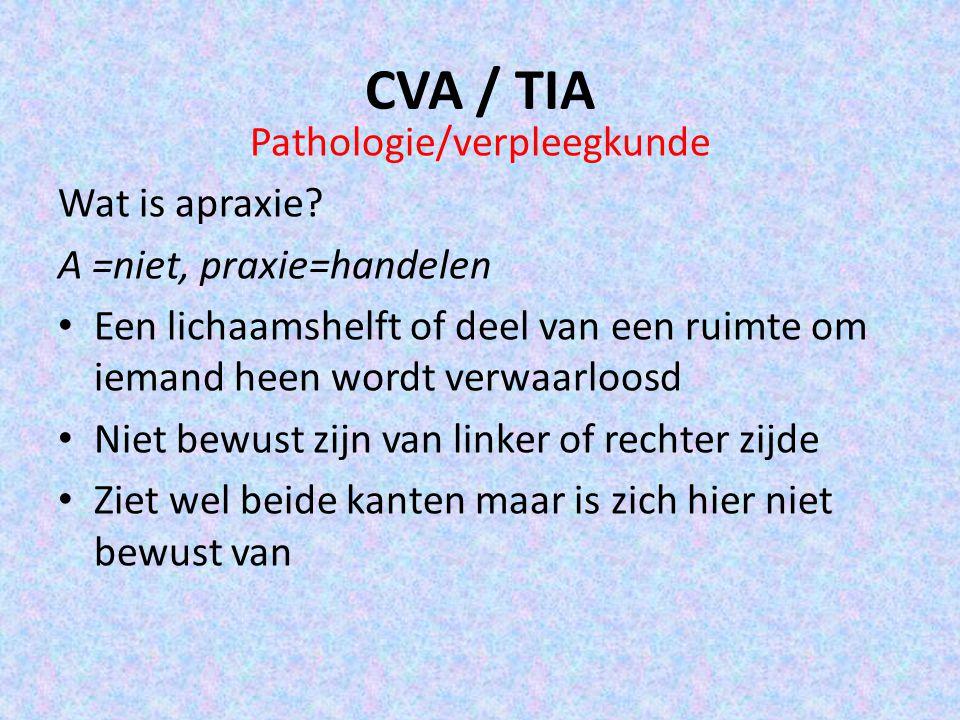 CVA / TIA Pathologie/verpleegkunde Wat is apraxie? A =niet, praxie=handelen Een lichaamshelft of deel van een ruimte om iemand heen wordt verwaarloosd