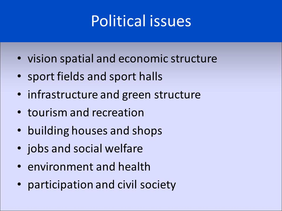 Political issues vision spatial and economic structure sport fields and sport halls infrastructure and green structure tourism and recreation building houses and shops jobs and social welfare environment and health participation and civil society