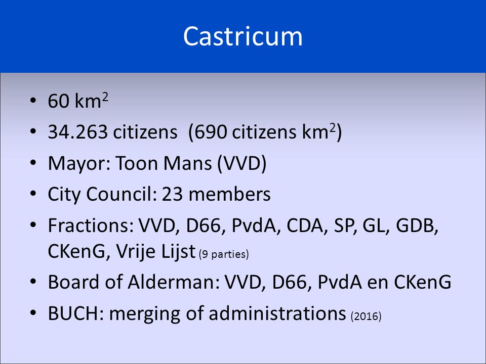 Castricum 60 km 2 34.263 citizens (690 citizens km 2 ) Mayor: Toon Mans (VVD) City Council: 23 members Fractions: VVD, D66, PvdA, CDA, SP, GL, GDB, CK