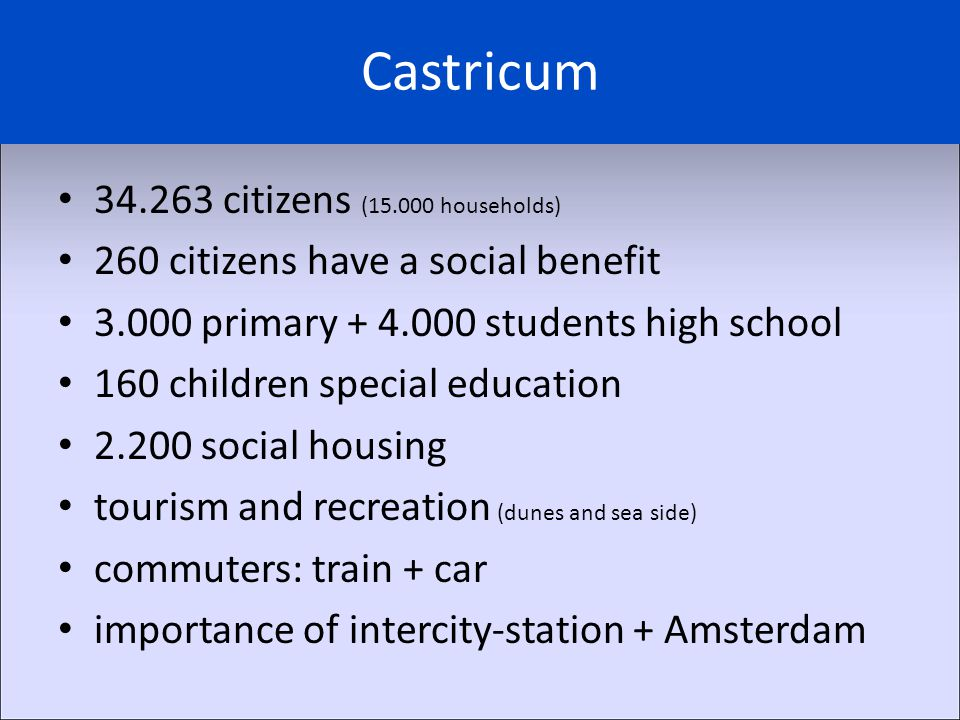 Castricum 34.263 citizens (15.000 households) 260 citizens have a social benefit 3.000 primary + 4.000 students high school 160 children special educa