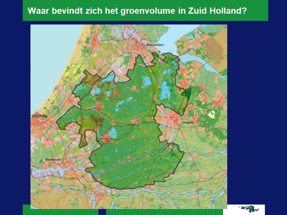 Waar bevindt zich het groenvolume in Zuid Holland?