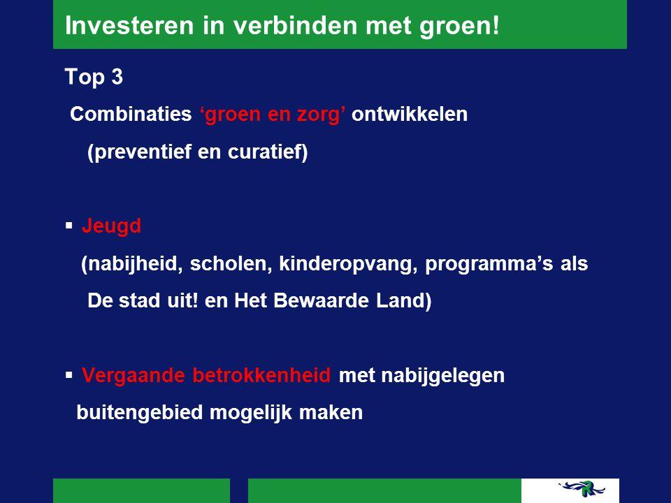 Investeren in verbinden met groen! Top 3 Combinaties 'groen en zorg' ontwikkelen (preventief en curatief)  Jeugd (nabijheid, scholen, kinderopvang, p