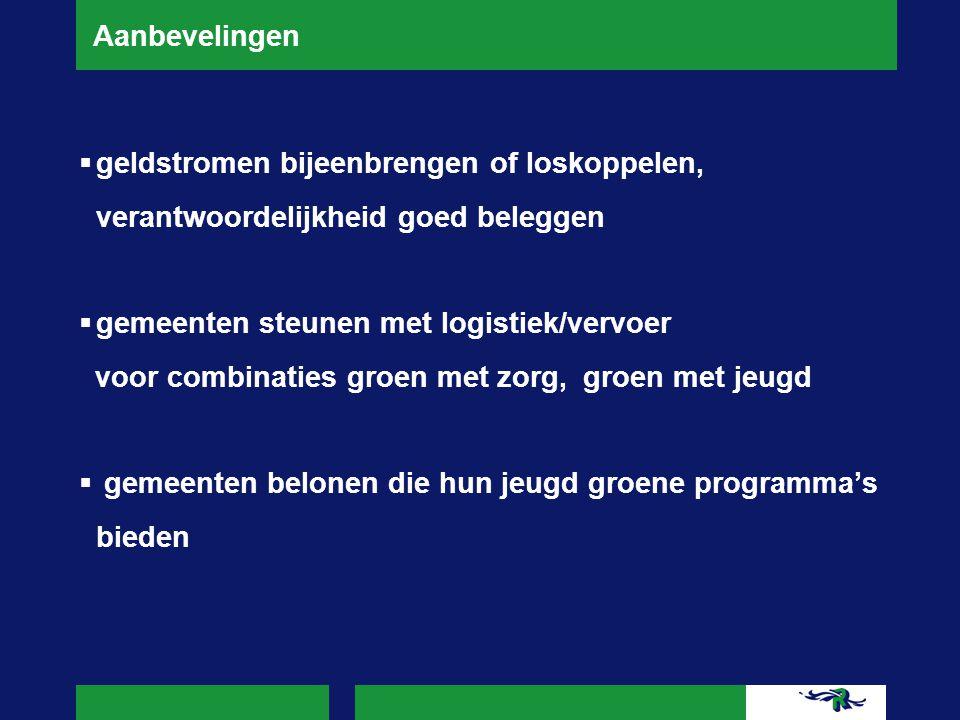 Aanbevelingen  geldstromen bijeenbrengen of loskoppelen, verantwoordelijkheid goed beleggen  gemeenten steunen met logistiek/vervoer voor combinatie