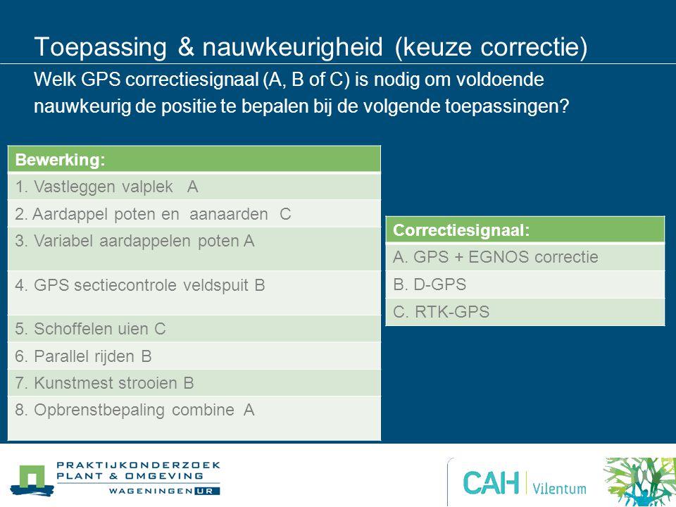 Toepassing & nauwkeurigheid (keuze correctie) Welk GPS correctiesignaal (A, B of C) is nodig om voldoende nauwkeurig de positie te bepalen bij de volg