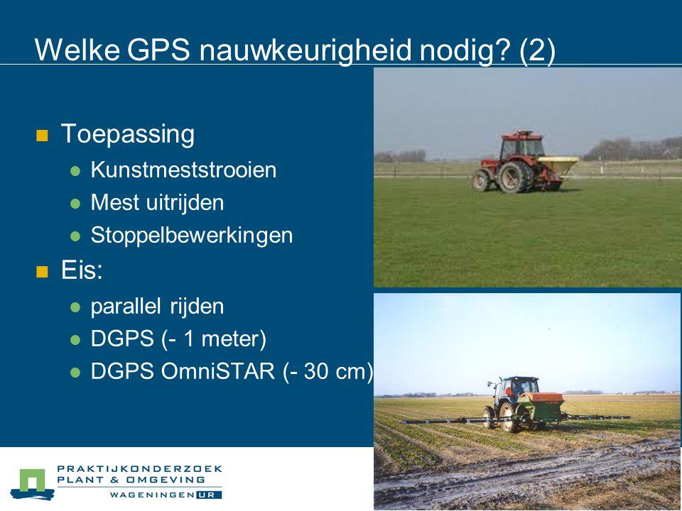 Welke GPS nauwkeurigheid nodig? (2) Toepassing Kunstmeststrooien Mest uitrijden Stoppelbewerkingen Eis: parallel rijden DGPS (- 1 meter) DGPS OmniSTAR