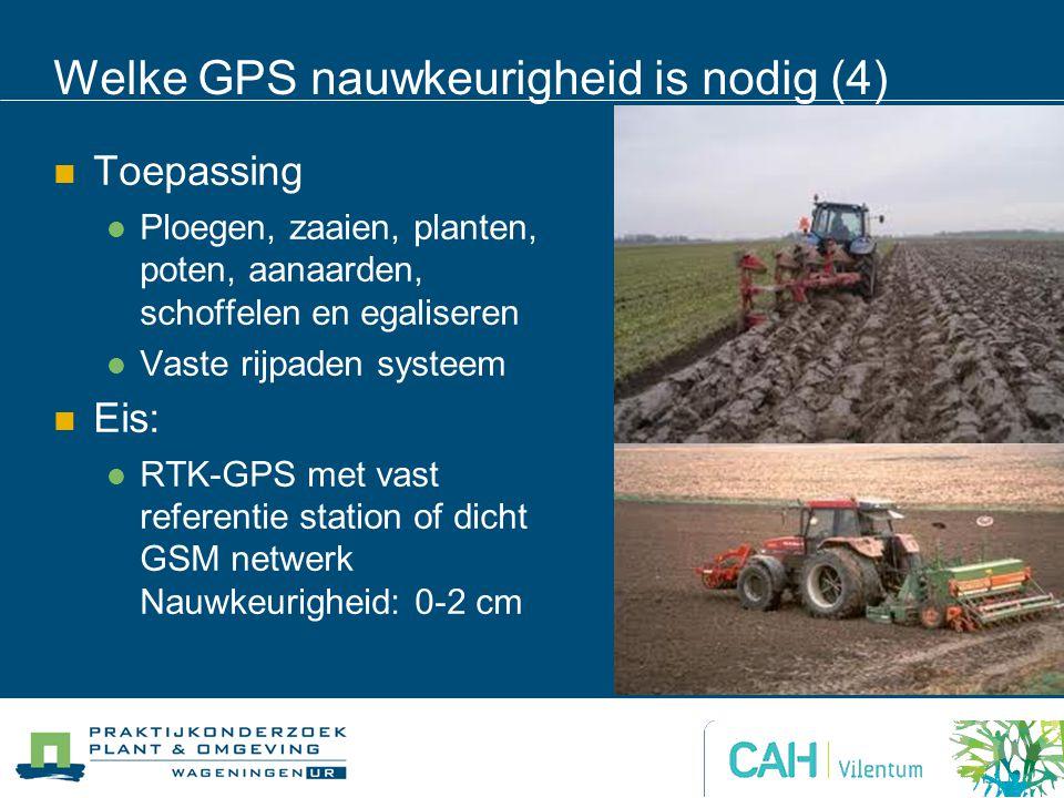 Welke GPS nauwkeurigheid is nodig (4) Toepassing Ploegen, zaaien, planten, poten, aanaarden, schoffelen en egaliseren Vaste rijpaden systeem Eis: RTK-GPS met vast referentie station of dicht GSM netwerk Nauwkeurigheid: 0-2 cm