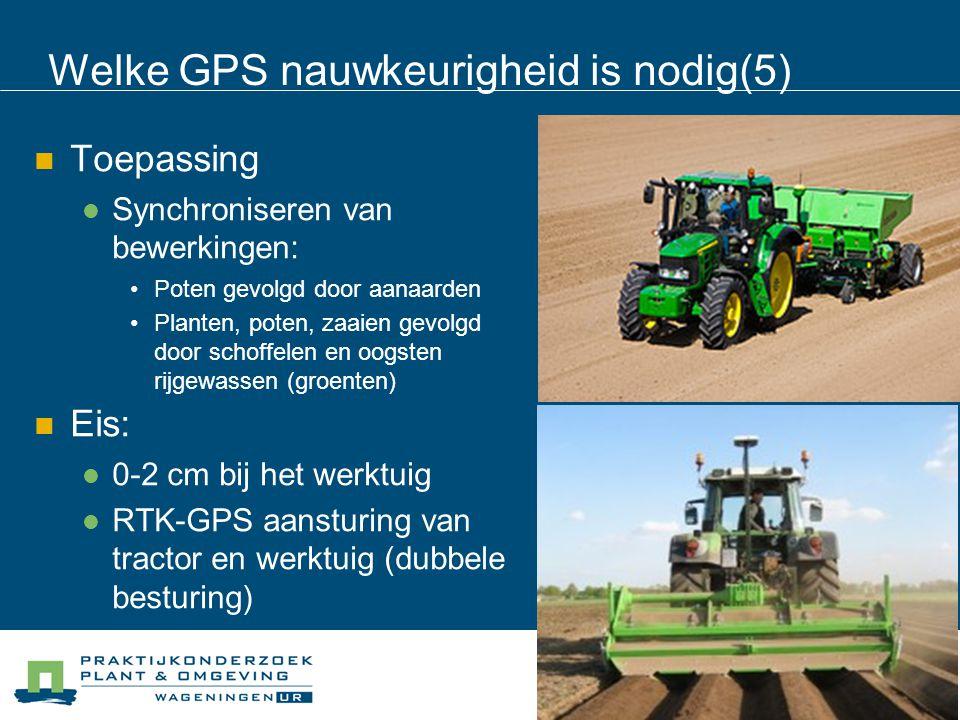 Welke GPS nauwkeurigheid is nodig(5) Toepassing Synchroniseren van bewerkingen: Poten gevolgd door aanaarden Planten, poten, zaaien gevolgd door schof