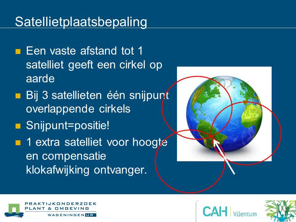 Satellietplaatsbepaling Een vaste afstand tot 1 satelliet geeft een cirkel op aarde Bij 3 satellieten één snijpunt overlappende cirkels Snijpunt=positie.