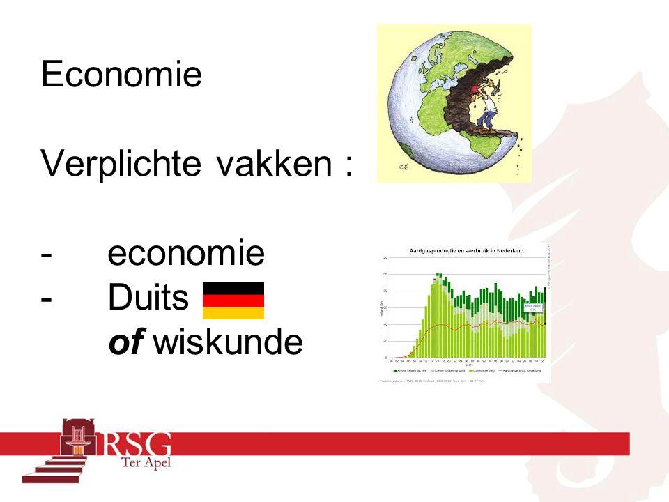 Economie Verplichte vakken : -economie -Duits of wiskunde