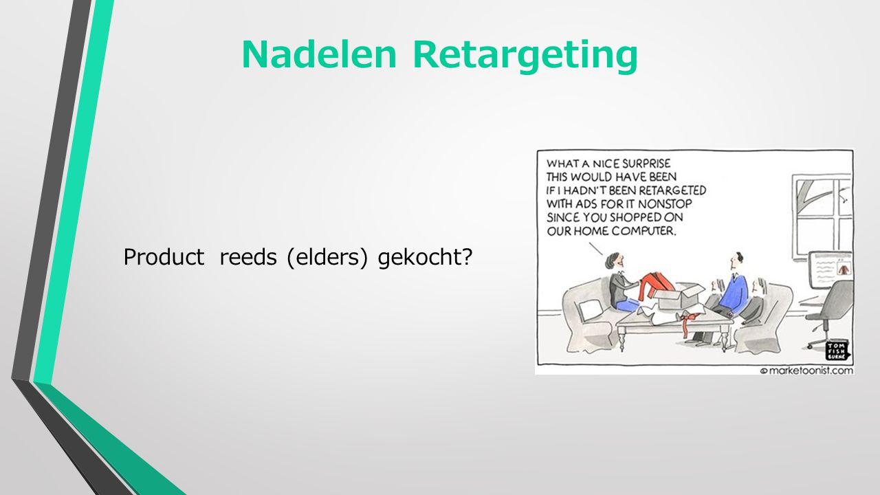 Nadelen Retargeting Product reeds (elders) gekocht