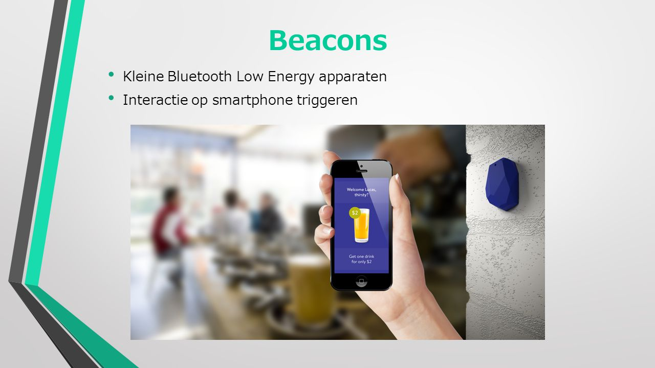 Beacons Kleine Bluetooth Low Energy apparaten Interactie op smartphone triggeren