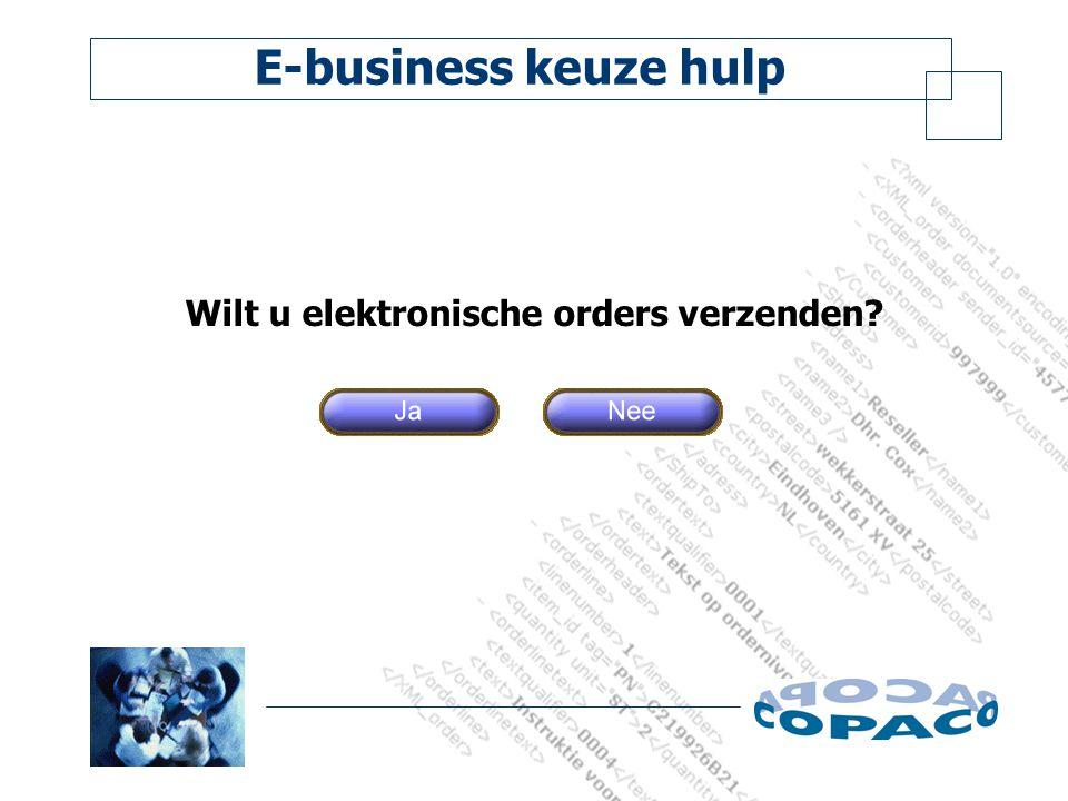 E-business keuze hulp Wilt u elektronische orders verzenden