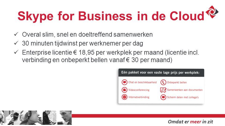Skype for Business in de Cloud Overal slim, snel en doeltreffend samenwerken 30 minuten tijdwinst per werknemer per dag Enterprise licentie € 18,95 per werkplek per maand (licentie incl.