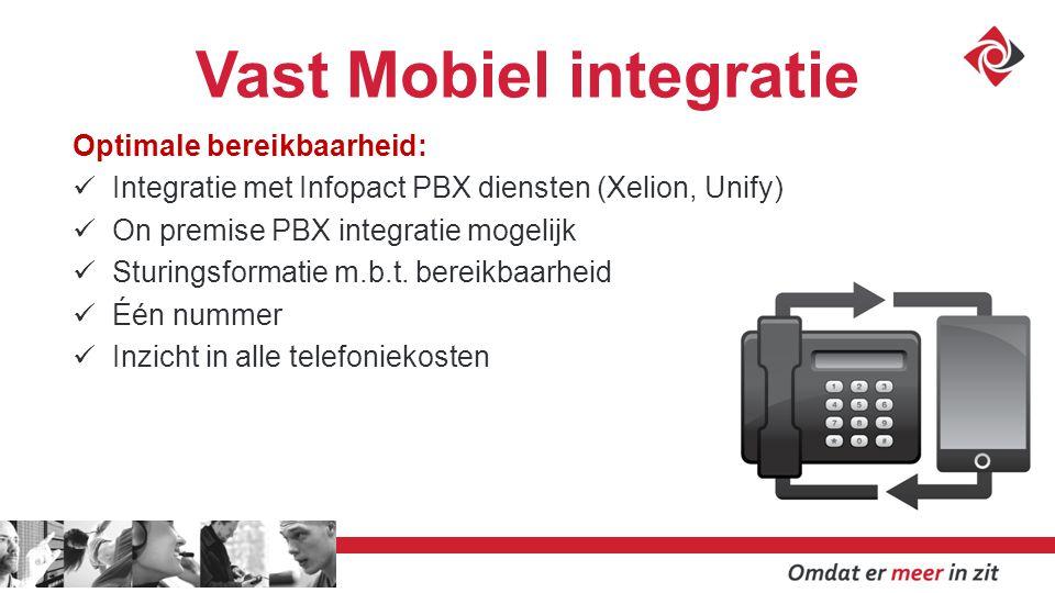 Vast Mobiel integratie Optimale bereikbaarheid: Integratie met Infopact PBX diensten (Xelion, Unify) On premise PBX integratie mogelijk Sturingsformatie m.b.t.