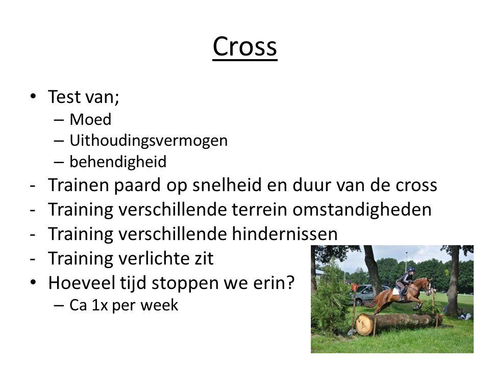 Cross Test van; – Moed – Uithoudingsvermogen – behendigheid -Trainen paard op snelheid en duur van de cross -Training verschillende terrein omstandigheden -Training verschillende hindernissen -Training verlichte zit Hoeveel tijd stoppen we erin.
