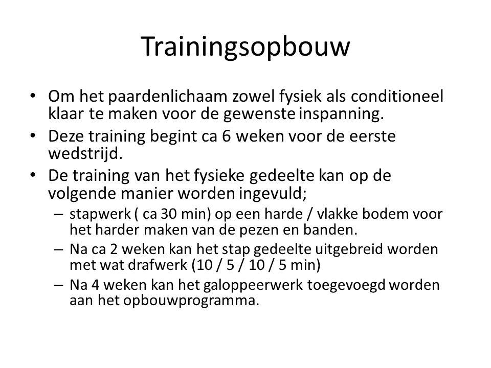 Trainingsopbouw Om het paardenlichaam zowel fysiek als conditioneel klaar te maken voor de gewenste inspanning.