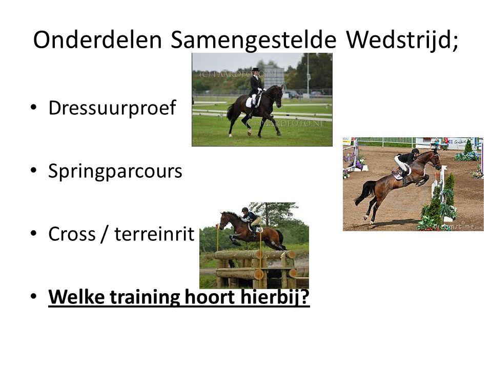 Onderdelen Samengestelde Wedstrijd; Dressuurproef Springparcours Cross / terreinrit Welke training hoort hierbij?