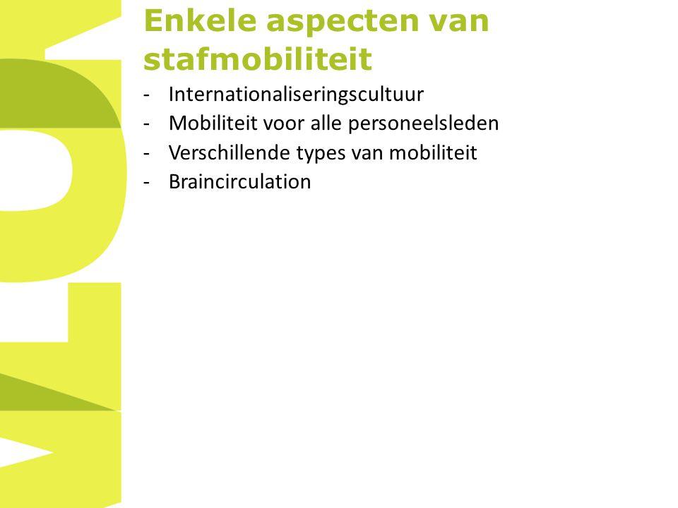 Enkele aspecten van stafmobiliteit -Internationaliseringscultuur -Mobiliteit voor alle personeelsleden -Verschillende types van mobiliteit -Braincirculation