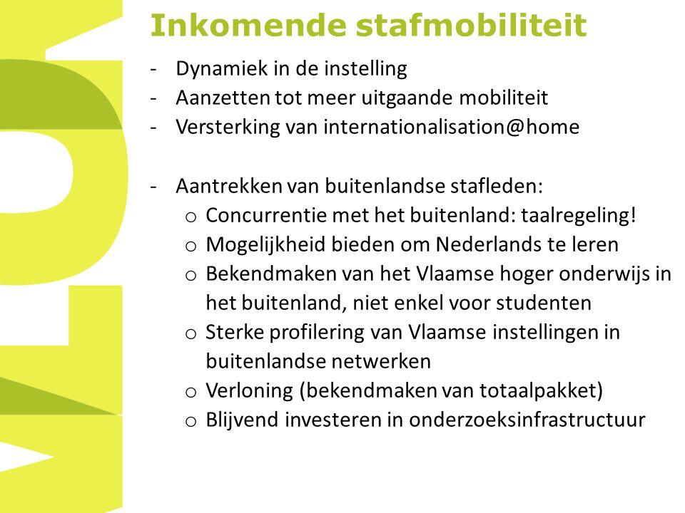 Inkomende stafmobiliteit -Dynamiek in de instelling -Aanzetten tot meer uitgaande mobiliteit -Versterking van internationalisation@home -Aantrekken van buitenlandse stafleden: o Concurrentie met het buitenland: taalregeling.