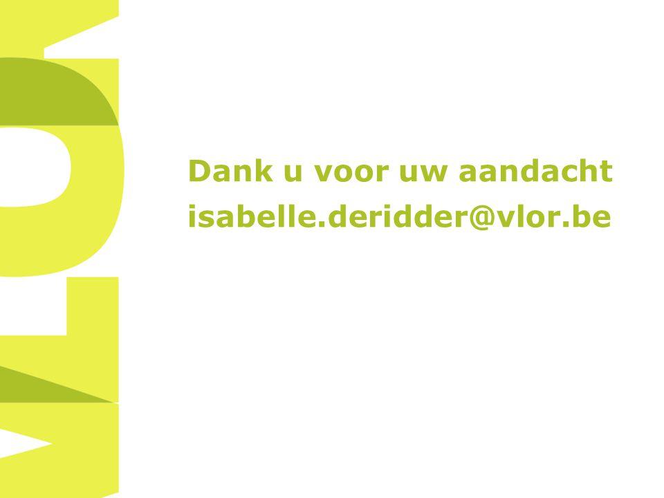 Dank u voor uw aandacht isabelle.deridder@vlor.be